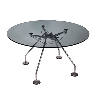 Norman Foster Table Chromed Metal Glass 1990s