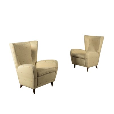 Pair Of Armchairs Wood Spring Foam Fabric Italy 1950s