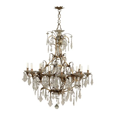 12 Lights Chandelier Shear Plate Iron Crystal Italy 20th Century