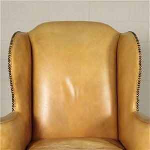 English Bergere Armchair Sessile Oak Padded Leather England 20th Cent