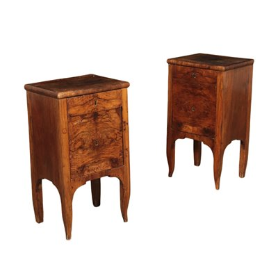 Pair of Directory Bedside Tables Walnut Burl Slab Italy 19th Century