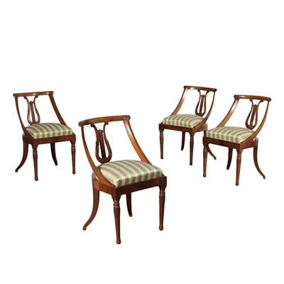 Group of 4 Empire Chairs Walnut Padded Italy 19th Century