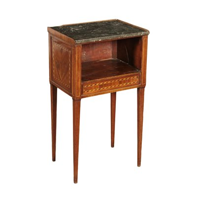 Neo-Classical Bedside Table Maple Cherry Marble France Late 1800