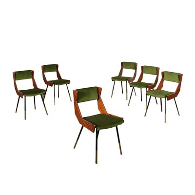 Group Of Six Chairs Solid Mahogany Brass Velvet Foam Italy 50s 60s