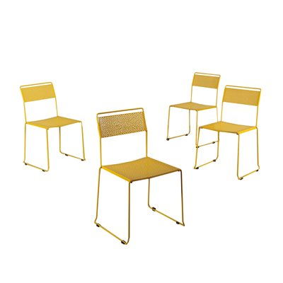 Group Of Chairs Enamelled Metal Italy 1970s 1980s