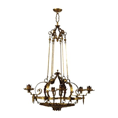 6 Lights Chandelier Wrought Iron Italy 20th Century