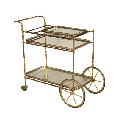 Service Trolley Brass Glass Italy 1950s-1960s Italian Production