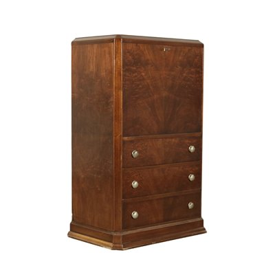 Secretaire with Safety Box Mahogany Metal Italy 20th Century