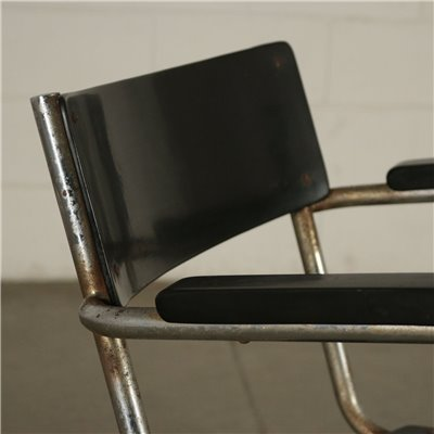 Group Of Six Chairs Plywood Metal Plastic Wood Italy 1930s 1940s