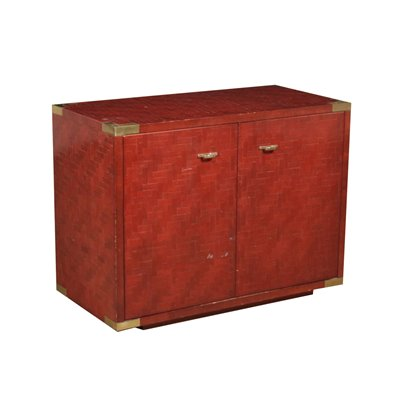 Cabinet Slabbed Bamboo Stained Wood Brass Italy 1980s
