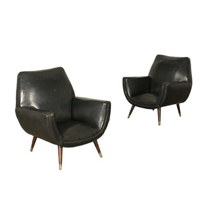 Pair Of Armchairs Wood Spring Brass Leatherette Argentine 1950s 1960s