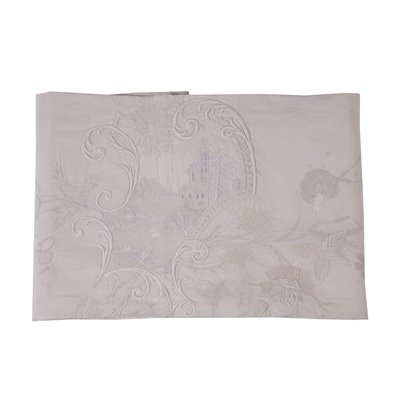 Flax Queen Bed Cover with Rich Embroidery