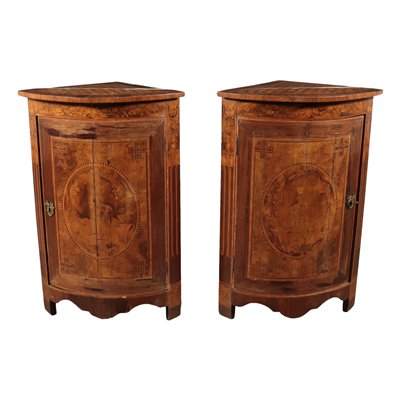 Pair of Inlaid Corenr Cabinets Italy 19th-20th Century