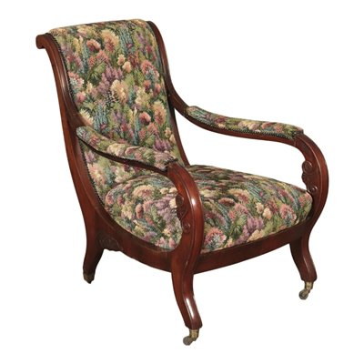 Liguria Restoration Armchair Mahognay Padded Italy 19th Century