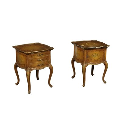 Pair of Venice Barocchetto Revival Bedside Tables Italy 20th Century