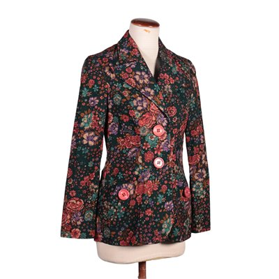 Vintage Blazer with Flowers Cotton 1980s