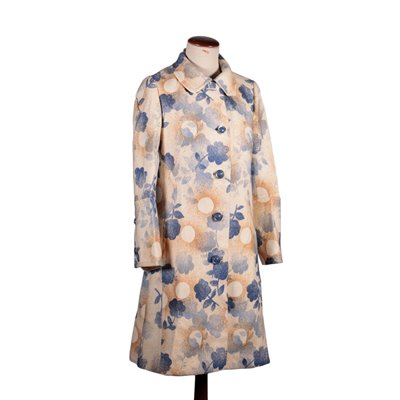 Vintage Coat with Floral Drawing Wool Italy 1970s