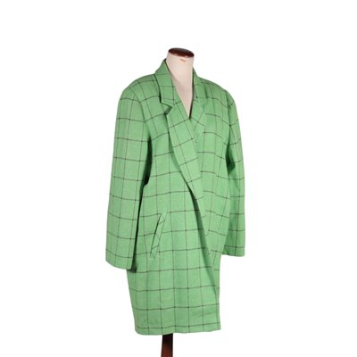 Vintege Green Wool Midseason Coat Italy 1980s-1990s