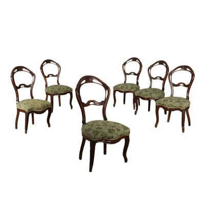 Group of 6 Louis Philippe Chairs Walnut Padded Italy 19th Century