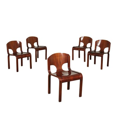 Group Of Five Chairs Veneered Wood Italy 1980s