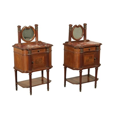 Pair of Revival Bedside Tables Mahogany Mirror Marple Italy 20th Cent