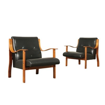 Pair Of Armchairs Mario Bellini Stained Beech Leatherette Foam 1960s