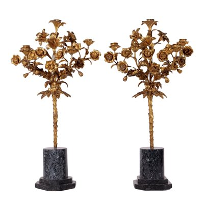 Pair Of Napoleon III Candelabra Gilded Bronze Marble Third Quarter 800