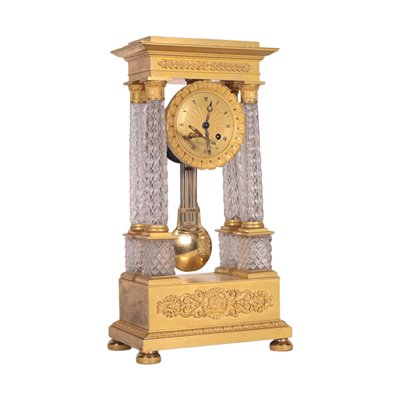 Charles X Clock Crystal Gilded Bronze France About 1830