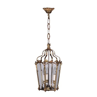 Lantern Glass Gilded Bronze Italy Early 20th Century