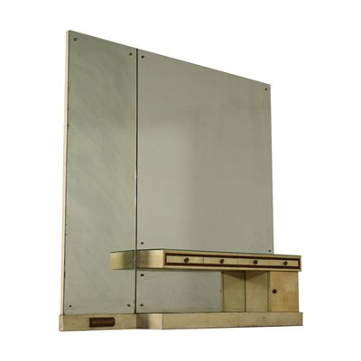 Vanity Unit Wood Parchment Paper Mirrored Glass Italy 1940s