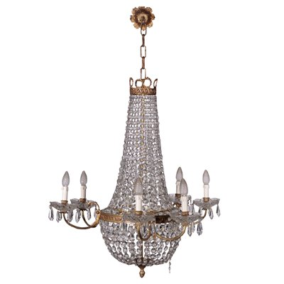Empire Revival Chandelier Glass Italy 20th Century
