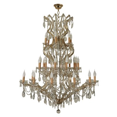 Chandelier In The Style Of Maria Theresa Glass Italy 20th Century