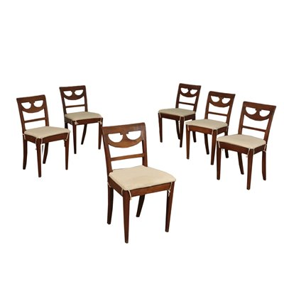 Group of 6 Directorie Chairs Walnut Italy 18th-19th Century