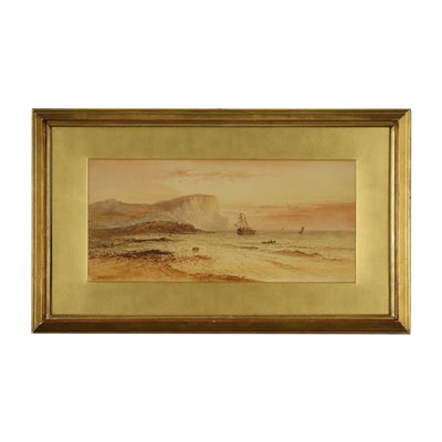Marine with Boats Oil on Canvas 19th Century