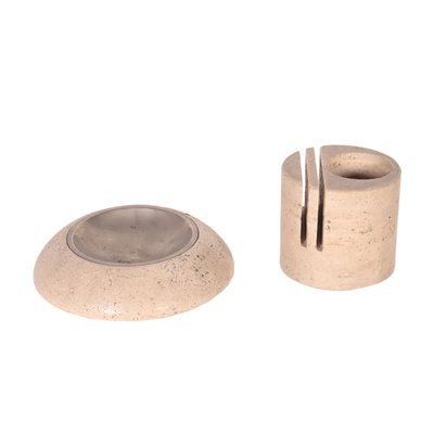 Travertine Marble Ashtray and Paper Holder Viterbo Italy 1960s-1970s