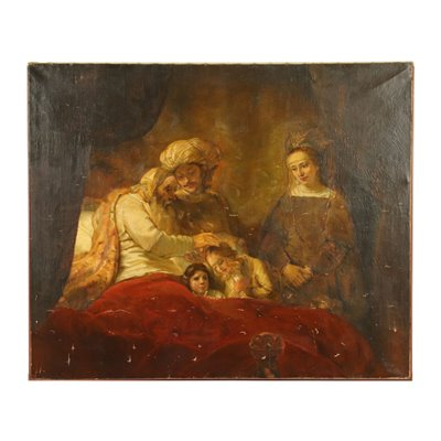 Jacob Blessing the Sons of Joseph Oil On Canvas 19th Century