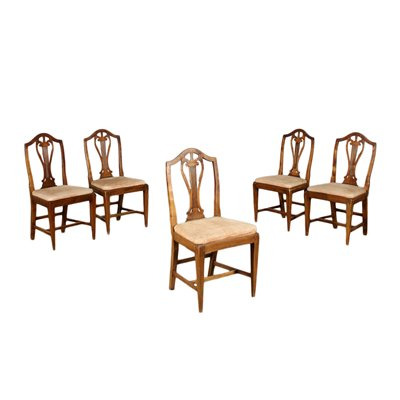 Group of 5 Directoire Chairs Cherry Padded Italy 19th Century