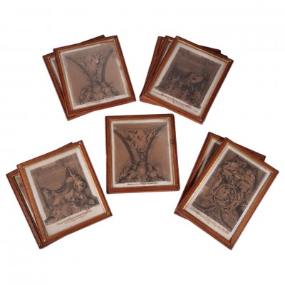 Empire Frames with Prints Pear Wood Italy 19th Century