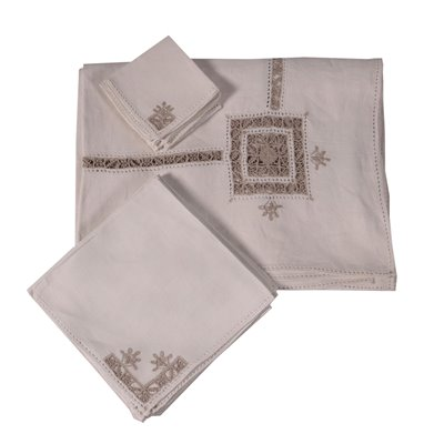Falx Tablecloth with 11 Napkins and 6 Small Napkins Italy 20th Century