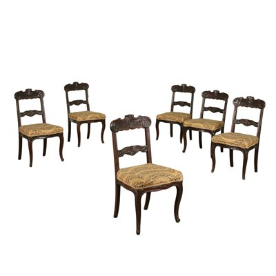 Group of 6 Louis Philippe Chairs Mahogany Padded France 19th Century