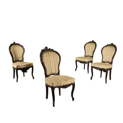Group of 4 Louis Philippe Chairs Mahogany Padded Italy 19th Century