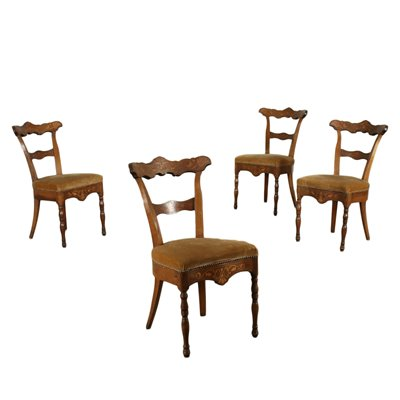 Group of 4 Charles X Chairs Wlanut Marple Padded Italy 19th Century