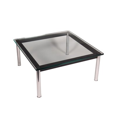 Le Corbusier Coffee Table Enamelled Chromed Metal Glass 1990s