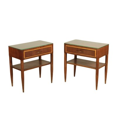 Bedside Tables Stained Beech Mahogany Veneer Glass Italy 1950s