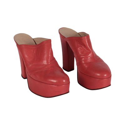 Vintage Raspberry Red Sabot Shows Leather Italy 1970s