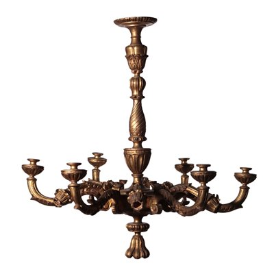 Gilded and Engraved Chandelier Italy 20th Century