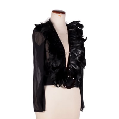Vintage Cardigan With Sequins and Feathers 1930s