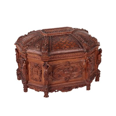 Engraved Box Solid Cherry Italy 19th Century