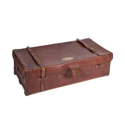 Vintage English Leather Trunk 1 England 1920s