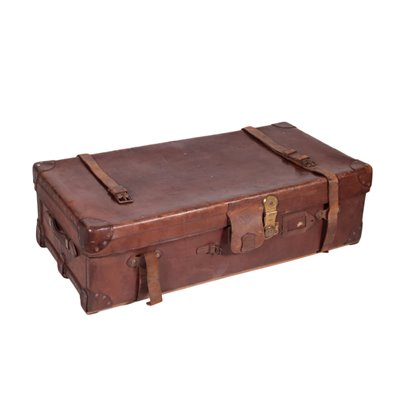 Vintage English Leather Trunk 2 England 1920s